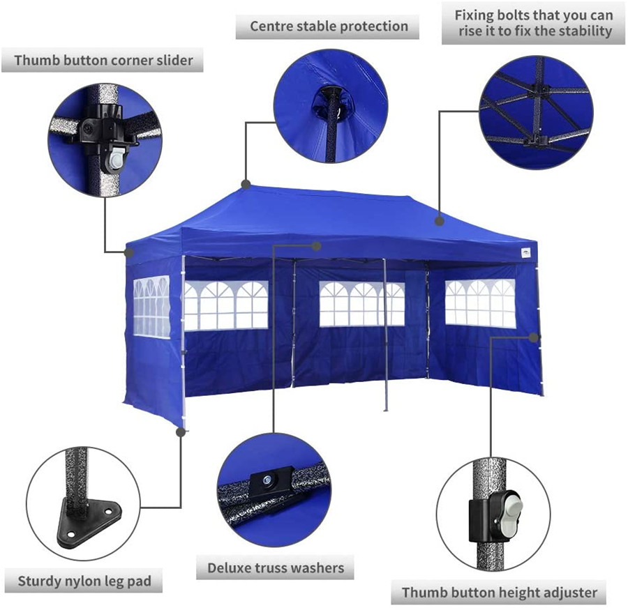 Outdoor Folding Gazebo with Sidewalls 3x6m xijie1